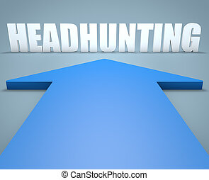 Headhunting - 3d render concept of blue arrow pointing to...