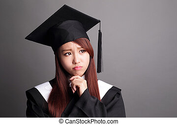 graduate student woman think - student woman graduating and...