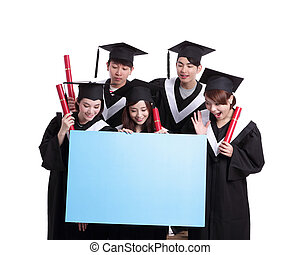 happy graduates student show billboard - group of happy...