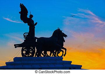Goddess Victoria riding on quadriga, Rome - Goddess Victoria...