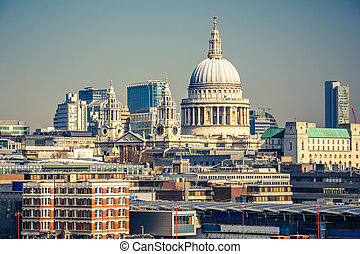 Aerial view on London city - Aerial view on st Paul...