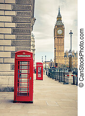 London landmarks - Big Ben and phone booths in London
