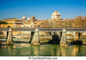 Tiber river in Rome, Italy - Ponte Palatino over Tiber in...