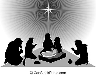 Three Wise Men bring gifts to Jesus - Wise men bring gold,...