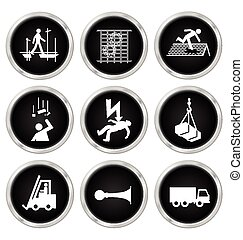 Health and Safety Icons - Black and white construction...
