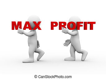 3d people word text max profit - 3d illustration of walking...