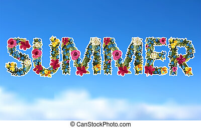 Floral summer lettering background Flower design