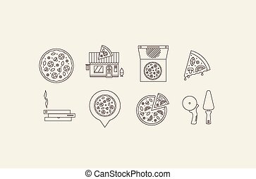 pizza icons - vector itallian pizza icons flat simple style