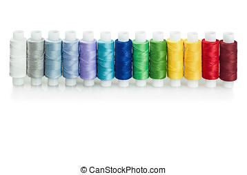 multicolored threads isolated