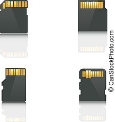 Set memory card, vector - Set the memory card, the back side...