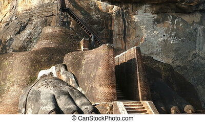 Sigiriya Lion Rock Fortress in Sri Lanka, tilt view