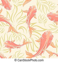 Carp Pattern - Seamless pattern with koi fishes and seaweed