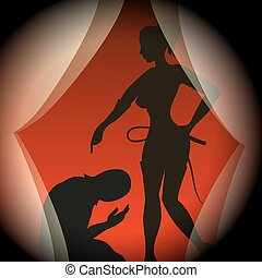 Game - Silhouettes of man in mask and lady with a whip in...