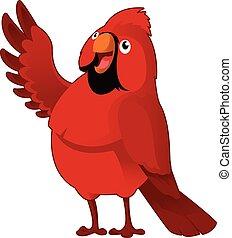 Cardinal - Vector image of a red cartoon cardinal