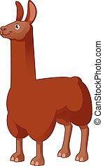 Cartoon Lama - Vector image of a cartoon brown lama
