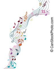 Music notes - Color music notes on a solide white background