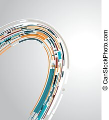 Abstract futuristic technology color 3D circle. Vector background