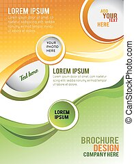 Brochure design or flyer - Wawe background with bubbles -...