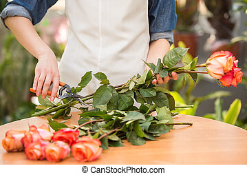 Florist - Close-up. Young female florist cutting a roses at...