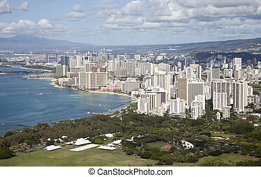 Waikiki seen from the top of Diamond Head, Oahu, Hawaii,...