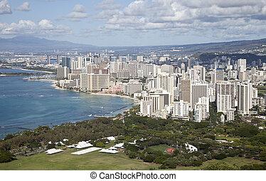 Waikiki seen from the top of Diamond Head, Oahu, Hawaii,...