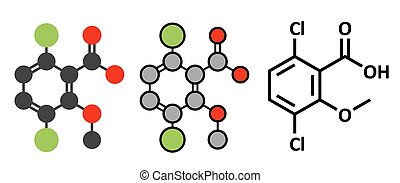Dicamba herbicide molecule. Used in weed control. Stylized...