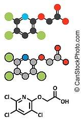 Triclopyr herbicide broadleaf weed killer molecule Stylized...