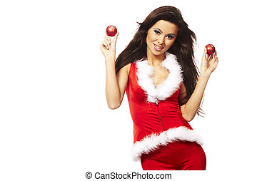 Portrait of beautiful brunette woman wearing sexy santa claus clothes