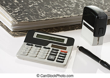bookkeeping tools on white background