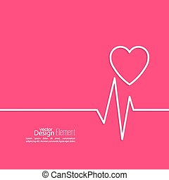 Cardiogram with heart Logo Cardiology Medical Center Outline...