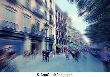 Abstract background. Pedestrians walking - rush hour in...