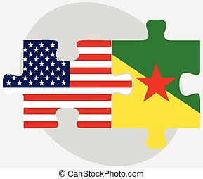 USA and French Guiana Flags in puzzle