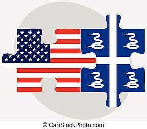 USA and Martinique Flags in puzzle - Vector Image - USA and...