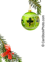 Christmas border with Irish bauble