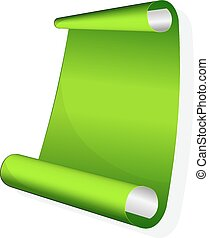 Sticker with curled up edge. - Green sticker with curled up...