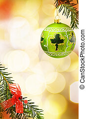 Christmas border with green bauble