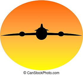 Plane in sunset - a plane silhouette image in sunset