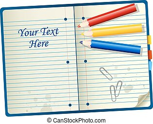 Pencils over notebook - room for your text - vector...