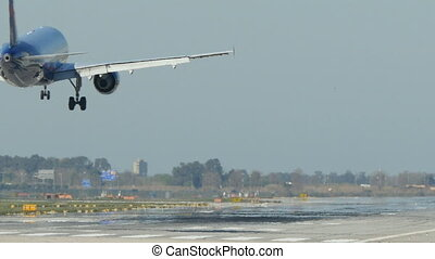Passenger airplane landing - British Airways aircraft...
