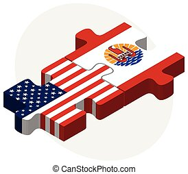USA and French Polynesia Flags in puzzle