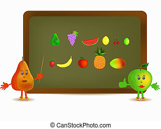 apple and pear illustration