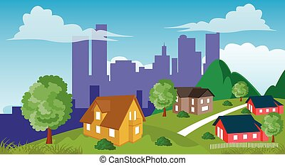 Suburban houses - Cartoon illustration of a city suburb with...