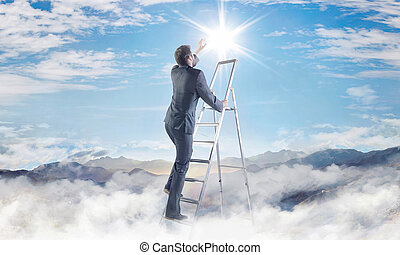 Conceptual picture of businessman achieving a success -...