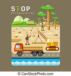 Deforestation concepts flat design background vector...