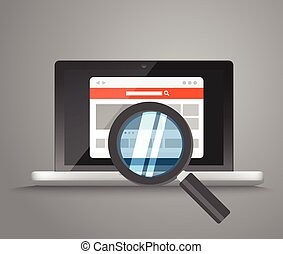 Modern laptop with magnifier searching information on website. V