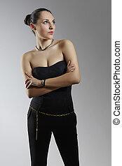Elegant woman in jumpsuit