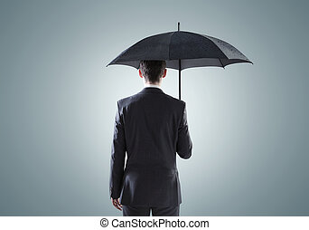 Conceptual picture of the sad businessman - Conceptual...