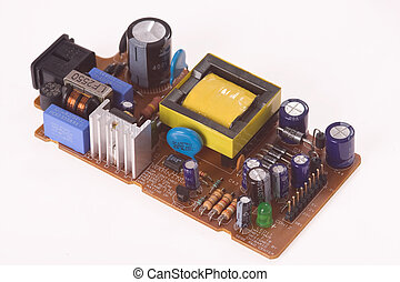 electronics components on white background