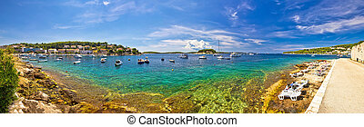 Hvar yachting beach panoramic view