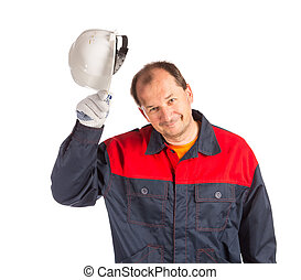 Worker with white helmet Isolated on a white background